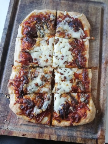 `Home Made Cheese and Tomato Pizza` for our tea time